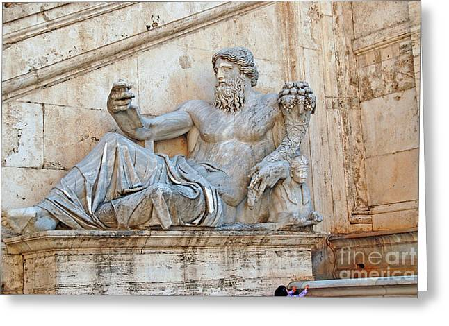 Marble Sculptures Greeting Cards - Statue Capitoline Hill of Rome Italy Greeting Card by Eva Kaufman