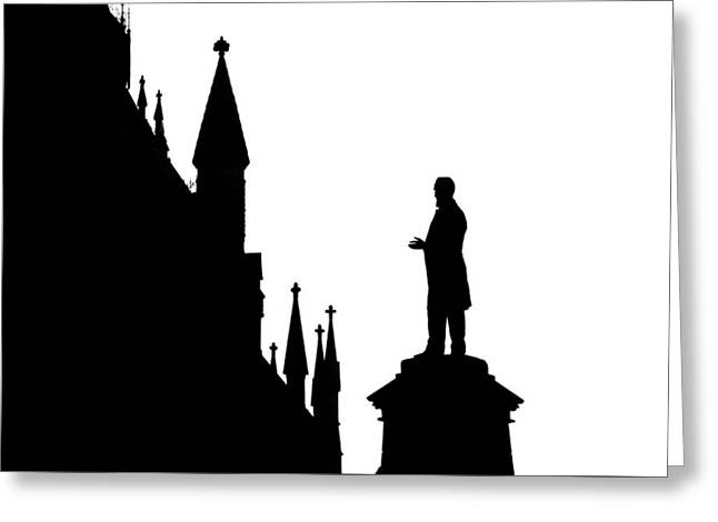 Memorial Day Drawings Greeting Cards - Statue in black/white Ottawa Parliament Canada Greeting Card by Baker Jarvis