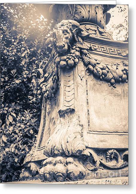 Bryant Photographs Greeting Cards - Statue in Bryant Park NYC Greeting Card by Edward Fielding