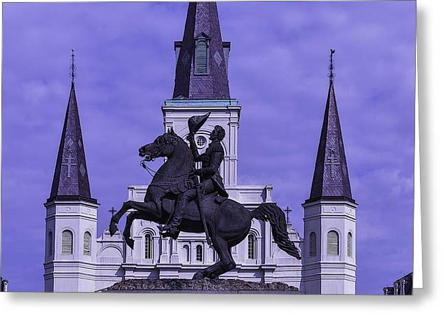 St. Louis Cathedral Greeting Cards - Statue Of Andrew Jackson Greeting Card by Garry Gay