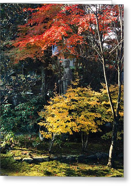 Kyoto Prefecture Greeting Cards - Statue Of Buddha In A Garden, Anraku-ji Greeting Card by Panoramic Images