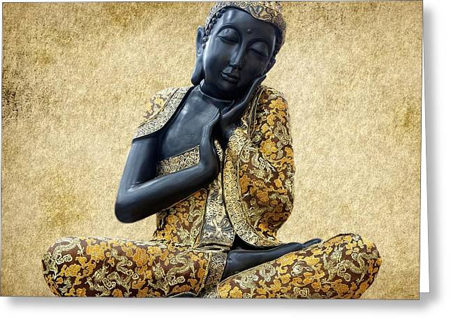 Statue Portrait Greeting Cards - Statue of Buddha Greeting Card by Sheela Ajith