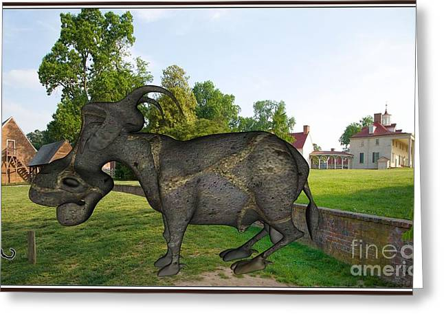 Statue Portrait Greeting Cards - Statue of Buffalo SOB1 Greeting Card by Pemaro