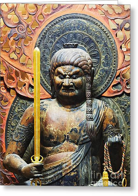 Honshu Greeting Cards - Statue of Fudo Myo-o Greeting Card by Jeremy Woodhouse