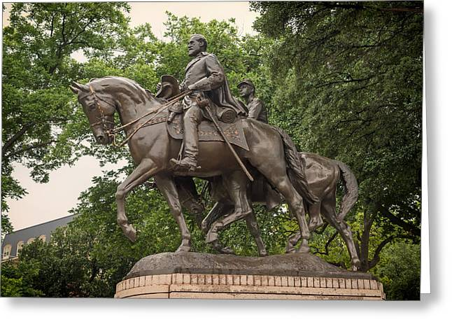 Statue Of Confederate Soldier Greeting Cards - Statue of General Robert E Lee on His Horse Traveller  Greeting Card by Mountain Dreams