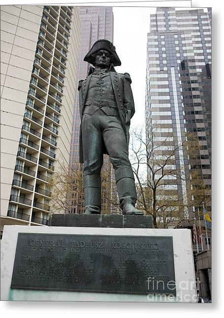Philadelphia Tourist Site Greeting Cards - Statue of General Tadeusz Kosciuszko  Greeting Card by Jason O Watson