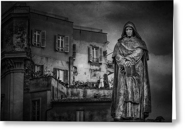Statue Of Giordano Bruno Greeting Card by Erik Brede