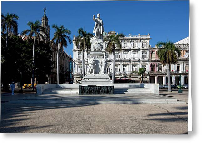 Historic Architecture Greeting Cards - Statue Of Jose Marti - Havana Greeting Card by Mountain Dreams