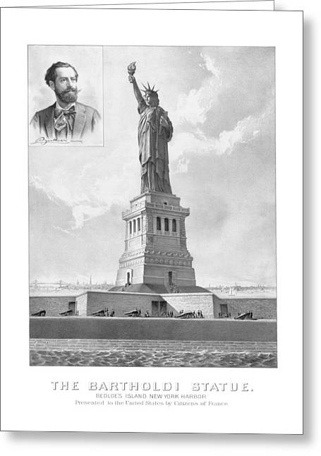 Liberty Island Greeting Cards - Statue of Liberty And Bartholdi Portrait Greeting Card by War Is Hell Store