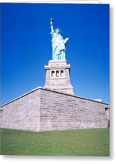 Seat Of Power Greeting Cards - Statue Of Liberty And Pedestal, New York Greeting Card by Panoramic Images