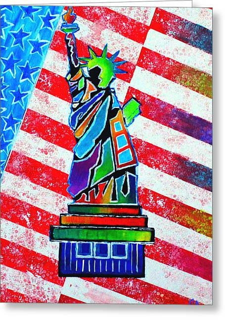 Statue Of Liberty And Stripes Greeting Card by Jeremy Aiyadurai