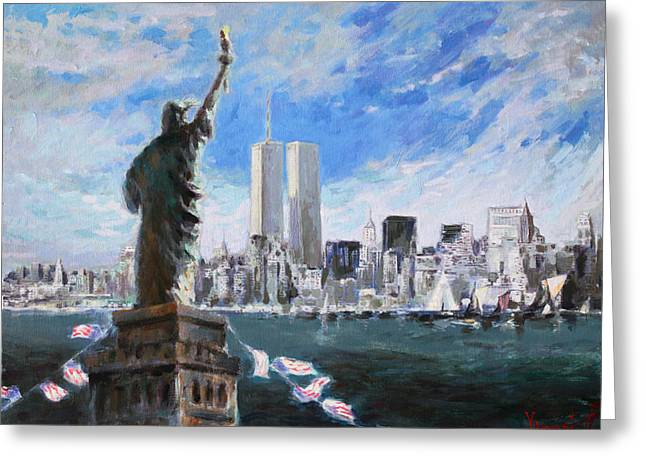 City Scape Paintings Greeting Cards - Statue of Liberty and Tween Towers Greeting Card by Ylli Haruni