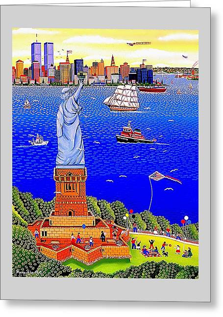 Boats In Harbor Greeting Cards - Statue of Liberty and Twin Towers  Greeting Card by Branko Paradis