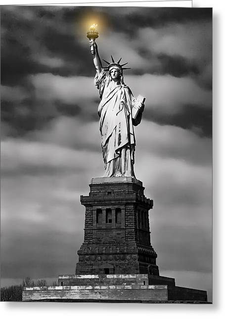City Lights Greeting Cards - STATUE of LIBERTY at DUSK Greeting Card by Daniel Hagerman