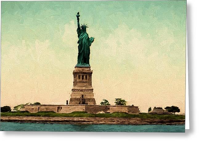 19th Century America Digital Art Greeting Cards - Statue of Liberty circa 1905 Greeting Card by John K Woodruff