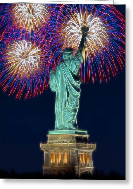 4th July Greeting Cards - Statue Of Liberty Fireworks Greeting Card by Susan Candelario