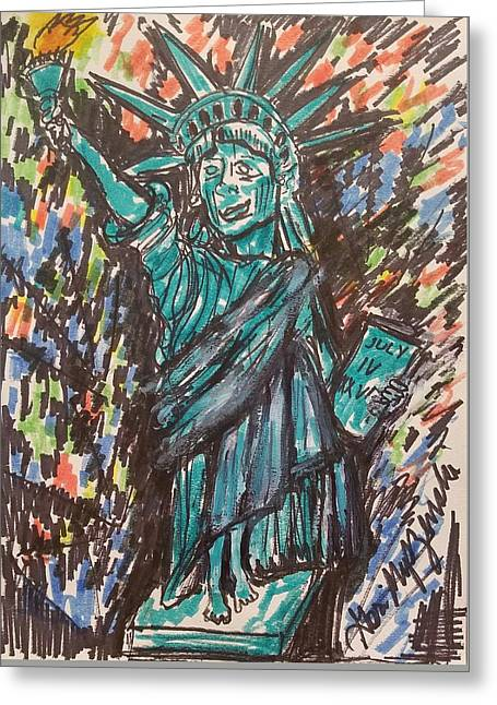 Statue Of Liberty Greeting Card by Geraldine Myszenski