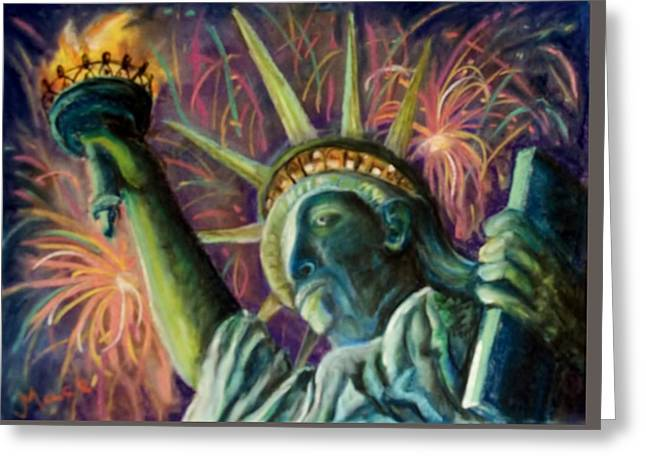Fireworks Pastels Greeting Cards - Statue of Liberty Greeting Card by Joan Mace