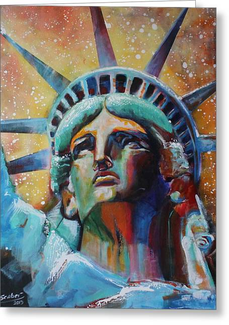 Statue Portrait Paintings Greeting Cards - Statue of Liberty Greeting Card by Katarzyna Scaber