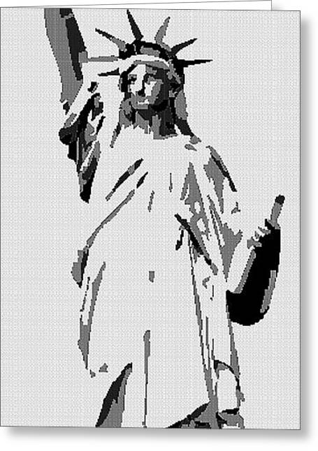 Tetris Block Greeting Cards - Statue Of Liberty Mixed Media Greeting Card by Jacquin