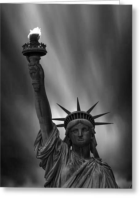 Liberty Island Greeting Cards - Statue of Liberty Monochrome Greeting Card by Martin Newman