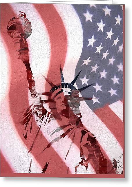 Statue Of Liberty On American Flag Greeting Card by Dan Sproul