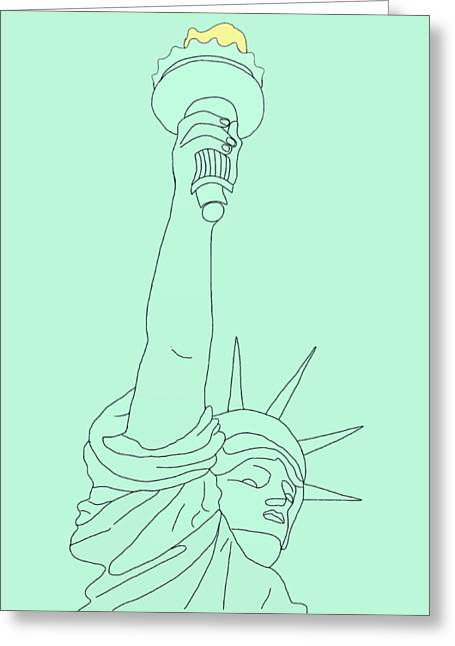 Best Sellers -  - 4th July Drawings Greeting Cards - Statue of Liberty Greeting Card by Priscilla Wolfe