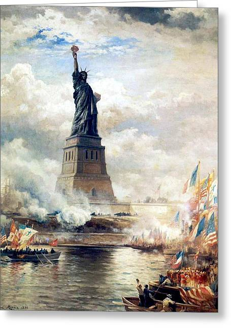 Statue Of Liberty Unveiled By Edward Moran Digitally Restored Greeting Card by Steven Covieo