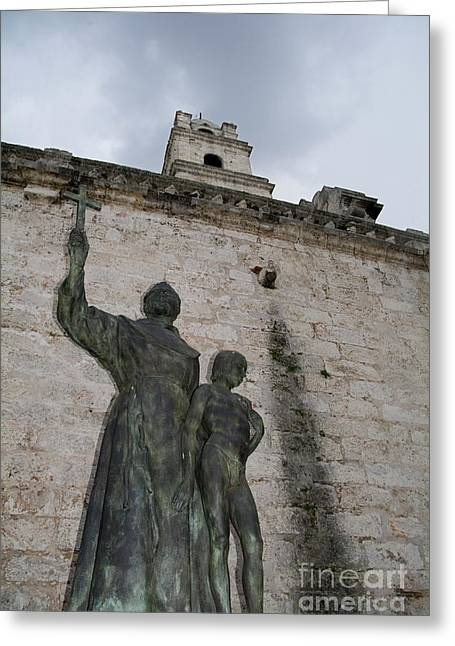 Wall Sculpture Sculptures Greeting Cards - Statue of San Francisco de Asis on a brick wall Greeting Card by Sami Sarkis