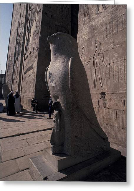 Statue Of The Bird God, Horus Greeting Card by Richard Nowitz