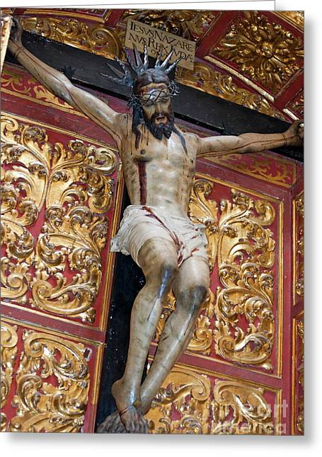 Statue Of The Crucifixion Inside The Catedral De Cordoba Greeting Card by Sami Sarkis