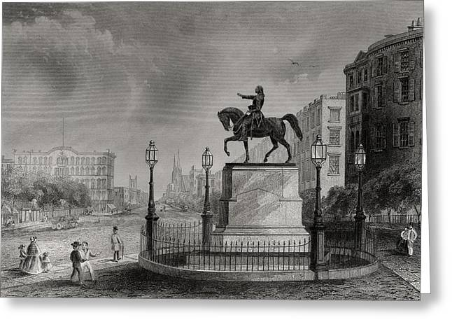 Black American Drawings Greeting Cards - Statue Of Washington Union Square New Greeting Card by Ken Welsh