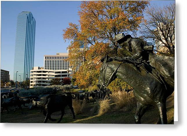 Cattle Drives Greeting Cards - Statues In A Park, Cattle Drive Greeting Card by Panoramic Images