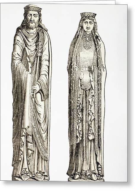 Statues Of King Clovis I And His Wife Greeting Card by Vintage Design Pics