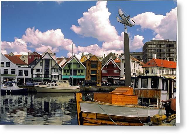 Stavanger Harbor Greeting Card by Sally Weigand