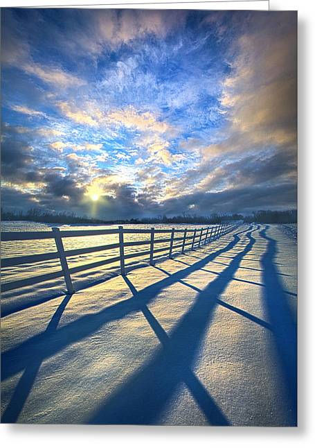 Staying Between The Lines Greeting Card by Phil Koch