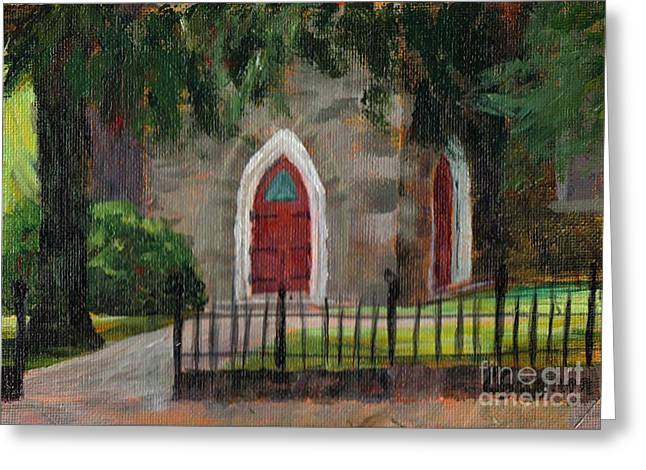 Sunlit Door Greeting Cards - Ste Anns Church Greeting Card by Claire Gagnon