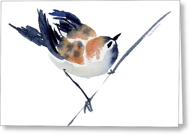 Sparrow Paintings Greeting Cards - Steadfast Greeting Card by Amy Kirkpatrick