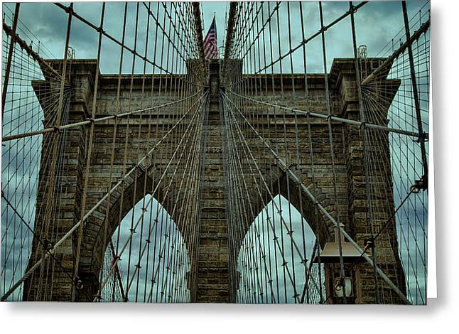 Bay Bridge Greeting Cards - Steadfast - Brooklyn Bridge Greeting Card by Stephen Stookey