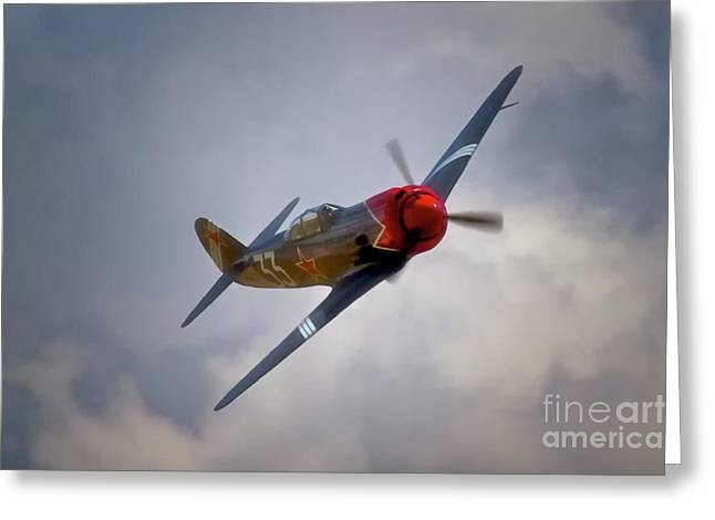 Planes Of Fame Greeting Cards - Steadfast Russian Yak Fighter and Will Whiteside Chino Air Show 2011 Greeting Card by Gus McCrea