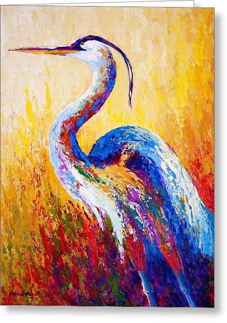 Texture Greeting Cards - Steady Gaze - Great Blue Heron Greeting Card by Marion Rose