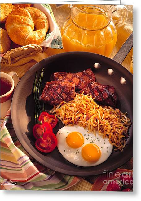 Breakfast Photographs Greeting Cards - Steak and Eggs Breakfast Greeting Card by Vance Fox