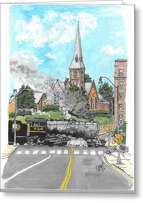 Old Roadway Mixed Media Greeting Cards - Steam At Baltimore Street Crossing Greeting Card by Patricia Wilt