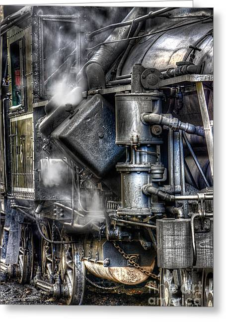 Antique Ironwork Greeting Cards - Steam Engine Detail Greeting Card by Jerry Fornarotto