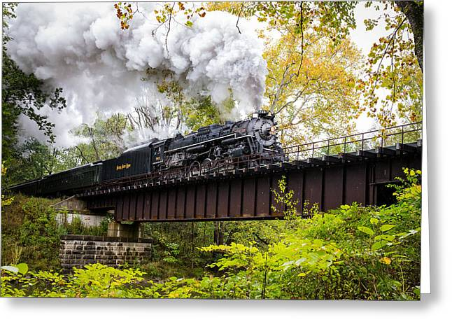 Train On Bridge Greeting Cards - Steam in the Valley II  Greeting Card by Tim  Fitzwater