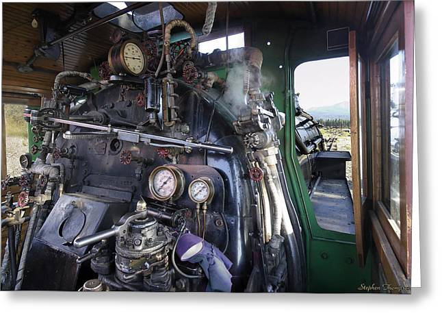 Alco Locomotives Greeting Cards - Steam Locomotive Cab Interior Greeting Card by Stephen  Thompson
