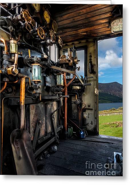 Steam Locomotive Footplate Greeting Card by Adrian Evans
