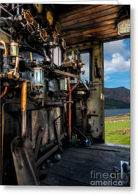 Wooden Platform Greeting Cards - Steam Locomotive Footplate Greeting Card by Adrian Evans