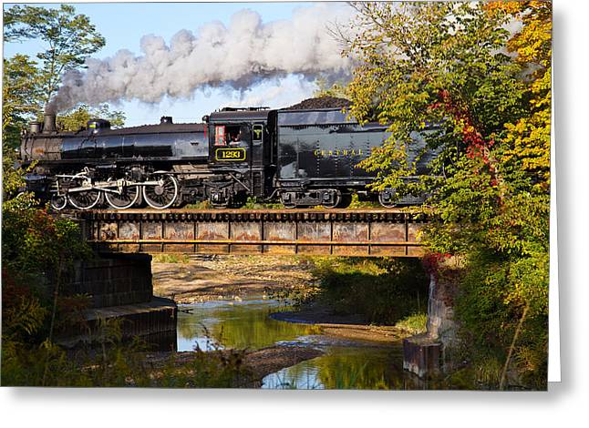 Train On Bridge Greeting Cards - Steam Power in the Valley Greeting Card by Tim  Fitzwater