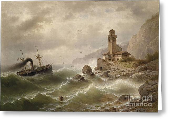 Steam Ship Greeting Cards - Steam ship off the coast  Greeting Card by Celestial Images
